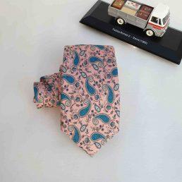 corbata rosa palo estampado cachemir